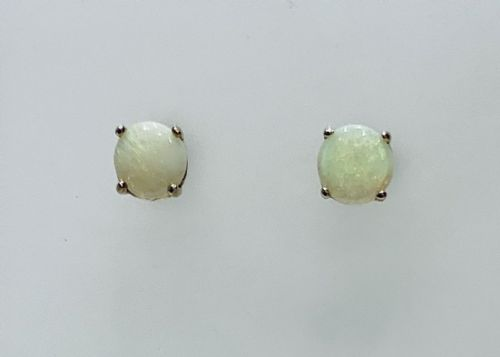 Opal Yellow Gold Round Stud Earrings